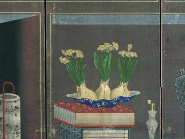 Painting of plants and books on a bookshelf.